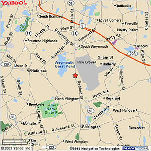 Map to joe seminara salon, Weymouth, MA